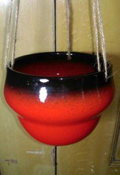 Vintage Keramiek Oranje Hangpot