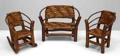 Rustic Old Hickory accessories miniature furniture hickory Log Furniture, Outdoor Furniture, Old Hickory, Outdoor Chairs, Outdoor Decor, Lodge Decor, Miniature Furniture, Cabin Ideas, Cabins