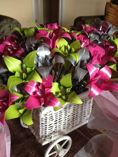 Origami lilies for table decoration