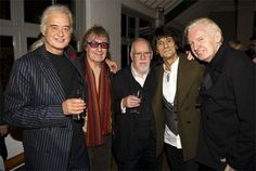 Jimmy Page with Bill Wyman, Peter Blake, Ronnie Wood, Mike McCartney at JP's book launch in London.