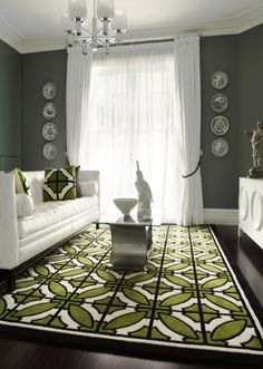 white furniture, gray walls, geometric green & white rug and pillows.okay maybe the white furniture is pushing the practicality envelope a bit. Living Room Green, My Living Room, Living Spaces, Living Area, Tapis Design, White Rug, White White, White Furniture, Grey Walls