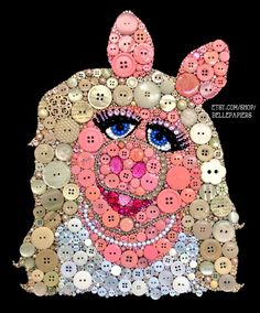 Amazing!  https://www.etsy.com/shop/bellepapiers    Miss Piggy made with Buttons  Swarovski Crystals!