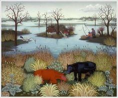Ivan Generalic (Croatian, 1914-1992) «River Landscape» 1964