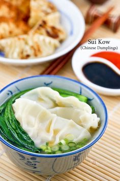 Sui Kow (Chinese Dumplings) are delicious fan shaped dumplings served in broth. They can also be deep fried or pan fried and steamed as pot stickers.   RotiNRice.com