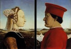 This painting is of the dukes of Urbino. The man is missing his nasal bridge due to tournament accidents.  Painting: Double Portrait of Battista Sforza  Artist: Piero della Francesca Date: 1460 Subjects: Duchess of Urbino and Federico da Montefeltro Dimensions: 47 cm x 33 cm\ Location: Uffizi Gallery Period: Renaissance