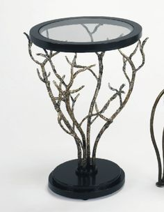 """Metal twig design with hand finished top with glass insertHandmadeDia.20x27"""" - $799.00"""