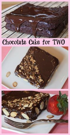 A rich CHOCOLATE CAKE recipe that serves just TWO.  Romance?  Special occasion?  Hot date?  This little cake is perfect for that!