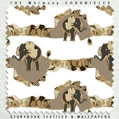 The Whimsey Chronicles - Cameo Pattern in Linen and Cotton + Wallpaper,  Winter Colorway   #elephants #ruffles #camel @Whimsey  Chronicles #fabric #linen #cotton #upholstery  #jewels #frills  #metallics #neutrals