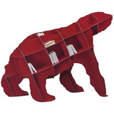 the ibride bear bookcase joe is a wonderfully stylish bookcase that is sure to be a focal point to any room this red designer animal bookshelf is available