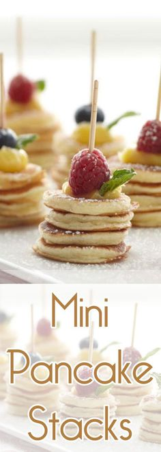 TheseMini Pancake Stacks would be a cool way to display breakfast in the morning for guests!