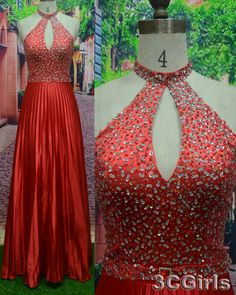 Sexy bright red halter long prom dress, ball gown with rhinestones, sparkly evening dress for teens, formal party dress from #3cgirls #weddings http://www.3cgirls.com/#!product/prd1/4250841125/sexy-bright-red-halter-sequins-long-prom-dress
