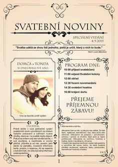 Svatební noviny (20 výtisků A4) Wedding Tips, Wedding Details, Our Wedding, Wedding Planning, Presents For Him, Wedding Invitations, Wedding Inspiration, Humor, How To Plan
