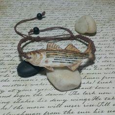 Striped bass hemp bracelet adjustable unisex choose brown or black band
