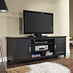 New 70 Inch Wood Tv Stand with Sliding Doors in a Beautiful Matte Black Finish -- Check this awesome product by going to the link at the image.