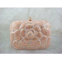 00626c7aa7ac 7707 Crystal Peach   White Floral Flower Lady Fashion Bridal Party Night  Metal Evening purse handbag