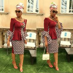 "The possibilities are endless when it comes to Ankara and this week we are inspired by Finiee couture. The ""African"" print itself arouses a considerable measure of styles, Ankara/African prints… African Dresses For Women, African Print Dresses, African Print Fashion, African Attire, African Wear, African Fashion Dresses, African Women, African Prints, Ghanaian Fashion"