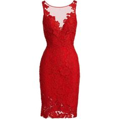 ML Monique Lhuillier Sleeveless Floral Lace Sheath Cocktail Dress (£395) ❤ liked on Polyvore featuring dresses, floral sheath dress, red cocktail dress, floral dresses, sleeveless sheath dress and lace dress