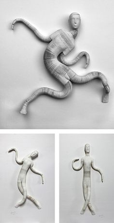 Beijing-based artist Li Hongbo creates fantastic sculptures using thousands of sheets of paper that are manually glued on top of each other in a honeycomb composition, allowing the layers to be pulled and stretched like an accordion. These paper stacks are then cut and sculpted using an electric saw.