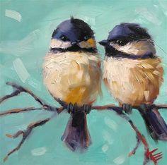 "Daily Paintworks - ""Hello Chickadee"" - Original Fine Art for Sale - © Krista Eaton Bird Painting Acrylic, Watercolor Bird, Acrylic Art, Painting & Drawing, Watercolor Paintings, Cave Painting, Bird Drawings, Horse Drawings, Cute Birds"