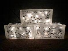 Lighted Live Laugh Love Glass Block Decorative Lamp Gift Decor