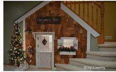 Playhouse built under the stairs.  http://joy2journey.com - what a cool idea!