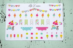 Ice Cream planner stickers for Erin Condren Life Planner ECLP, Inkwell Press IWP, Day Designer, Emily Ley Simplified