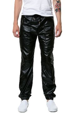 Faux Leather Drop Crotch Jogger Fit pants in Black by Square Zero