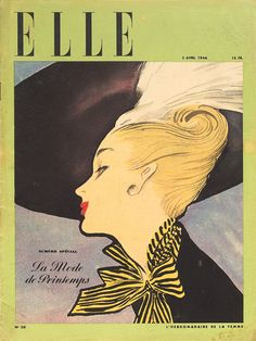 Illustration by René Gruau, April 1946, Front cover E L L E.