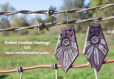Tooled Leather Earrings Purple by ReRideStories on Etsy