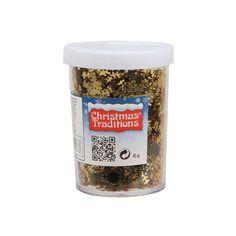 Sneeuwvlokken confetti goudkleur. Inhoud 45 gram.