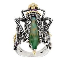 QVC.com...BarbRa Bixby Sterling/18k Gemstone Grasshopper Ring...