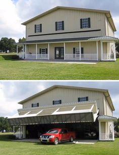 Garagem escondida atrás da fachada de uma casa.