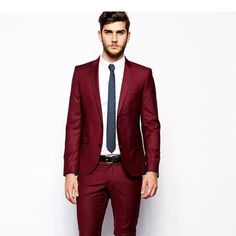 New Arrival new design custom slim fit red formal prom men tuxedos notched lapel men blazers two-button groom  (Jacket+Pants)