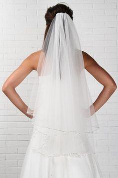 "#87024 - Two Tier 36"" Beaded Edge Veil - Veils - Simply Bridal"