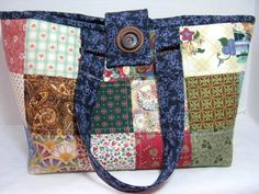 Blue Patchwork Quilted Project Tote Knitting Craft Bag