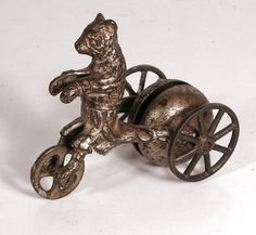 "c. 1910 ""Teddy Bear Chimes"" Cast Iron Bell Pull Toy by N.N. Hill Company. (3 1/2 in. tall x 2 5/8 in wide).  *s*"