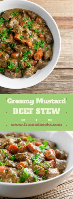 This recipe for creamy mustard beef stew will warm you up on those chilly nights!