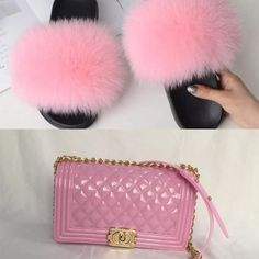 Fur slippers and matching purse for Sale in Pascagoula, MS - OfferUp Unique Purses, Cute Purses, Cute Sandals, Cute Shoes, Purses For Sale, Purses And Bags, Fluffy Slides, Stylish School Bags, Jelly Bag