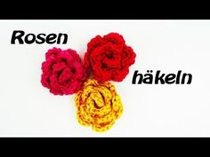 Häkeln Rose - Anhänger - als Accesoires an eurer Mütze, eurem Schal oder als Brosche! - YouTube