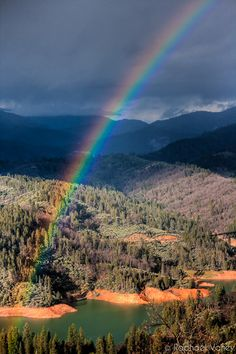Rainbow over Shasta Lake - Redding, California by Raphael Vaney