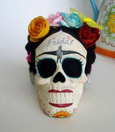 Frida Kahlo sugar skull ornament. Day of the Dead. Mexico.