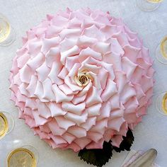 Ron Ben-Israel Cakes This striking cake resembles a huge, single rose made up of 150 individual petals. White Meyer lemon confection complemented by papaya and blood-orange buttercream filling. Rose Petal Cake, Pink Rose Cake, Rose Petals, Dahlia Cake, Gorgeous Cakes, Pretty Cakes, Amazing Cakes, Bolo Cake, Un Cake