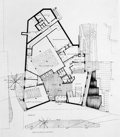 Alvar Aalto, ground floor plan for the museum building, Aalvar Alto Museum, Jyvaskyla, Finland, 1971