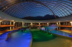 Musical Fountain on a single floating platform Floating Platform, Hotels, Slovenia, Dom, Light Colors, Modern Architecture, Fountain, Swimming Pools, Musicals