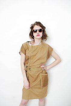 Vintage dress / 80s khaki cotton summer utility dress / size M