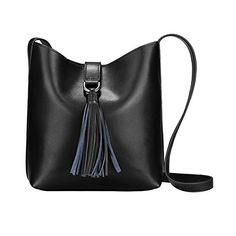Women's Bags, Totes,S-ZONE Women's Small Cowhide Leather Shoulder Bag Cross-body Bag with Tassel Ladies Bucket Tote - Black - Cow Leather, Leather Handle, Cowhide Leather, Black Leather, Leather Crossbody, Crossbody Bag, Tote Bag, Tassel Purse, Bag Sale