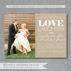 Modern Wedding Thank You Card Unique By Simplymoderndesignx