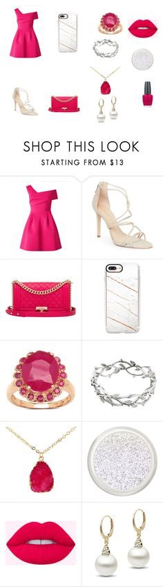 """""""Hot Pink and White Date Night outfit"""" by magicalpowers on Polyvore featuring Miss Selfridge, Schutz, Chanel, Casetify, Malaika, Tiffany & Co., OPI and DateNight"""