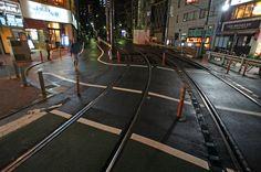 夜散歩のススメ「路面電車線路と坂道の交差」 東京都豊島区