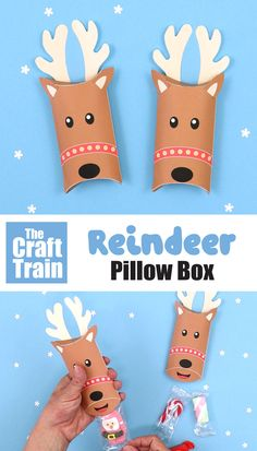 Reindeer pillow box printable template for small gifts and sweets. This is a fun printable Christmas craft for kids, and a cute DIY gift idea #reindeer #printables #christmasprintables #pillowbox #thecrafttrain